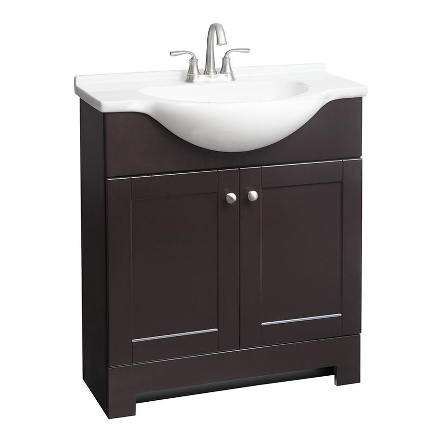 Shop style selections euro espresso integral single sink bathroom vanity with cultured marble - Cultured marble bathroom vanity tops ...