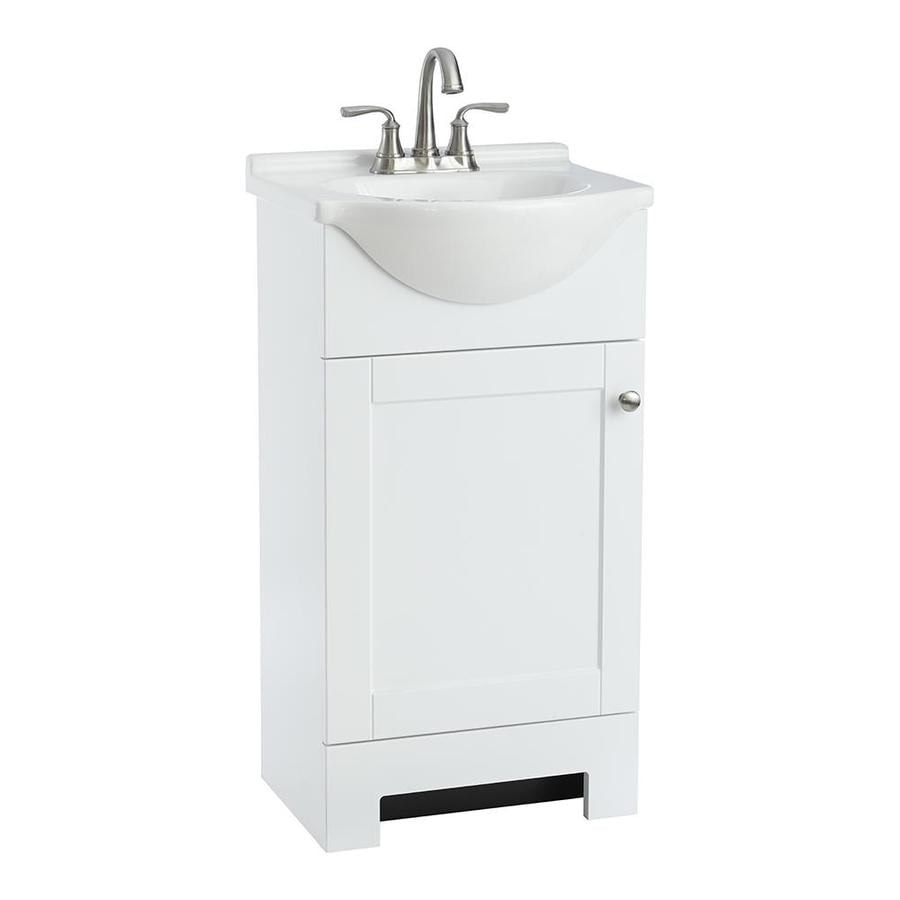 Shop style selections euro white integral single sink for Single bathroom vanity