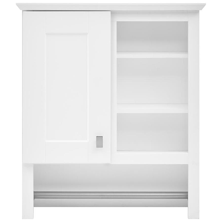 Shop Style Selections 24 5 In W X 29 In H X D White Particleboard Bathroom Wall Cabinet