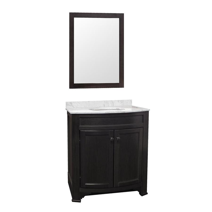 Gray Undermount Single Sink Bathroom Vanity with Natural Marble Top (Mirror Included) (Common: 30-in x 18-in; Actual: 30.88-in x 18.63-in)
