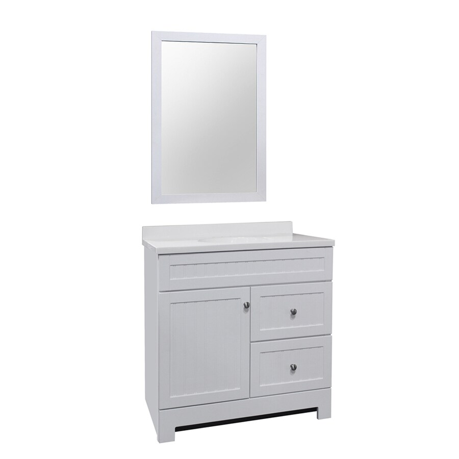 White Integral Single Sink Bathroom Vanity with Cultured Marble Top (Mirror Included) (Common: 36-in x 18-in; Actual: 36.5-in x 18.75-in)