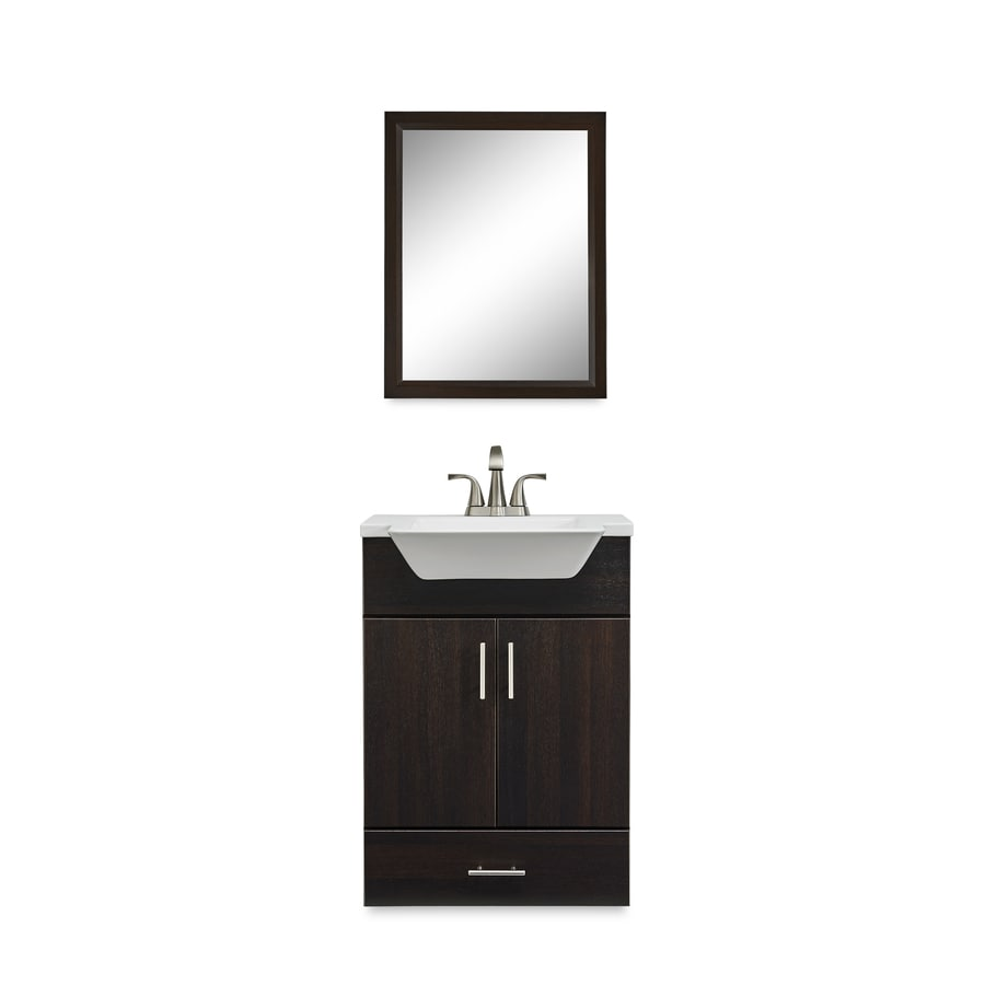 Fontaine Wenge Integral Single Sink Bathroom Vanity with Cultured Marble Top (Mirror Included) (Common: 24-in x 18-in; Actual: 24.5-in x 18.625-in)