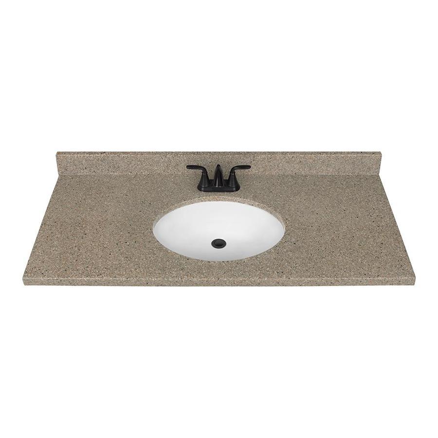 Nutmeg Solid Surface Integral Single Sink Bathroom Vanity Top (Common: 49-in x 22-in; Actual: 49-in x 22-in)