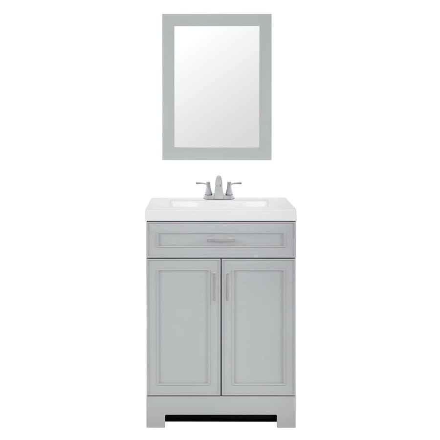 Style Selections 24 In Gray Single Sink Bathroom Vanity With White Cultured Marble Top Mirror And Faucet Included In The Bathroom Vanities With Tops Department At Lowes Com