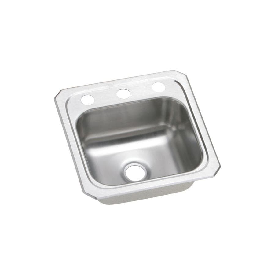 ... Brushed Satin Single-Basin 3-Hole Stainless Steel Residential Bar Sink