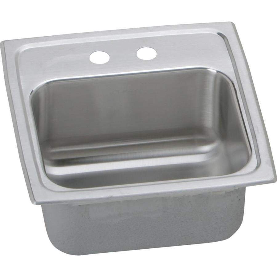 Elkay Gourmet Lustrous Highlighted Satin Single-Basin 2-Hole Stainless Steel Drop-in Residential Bar Sink