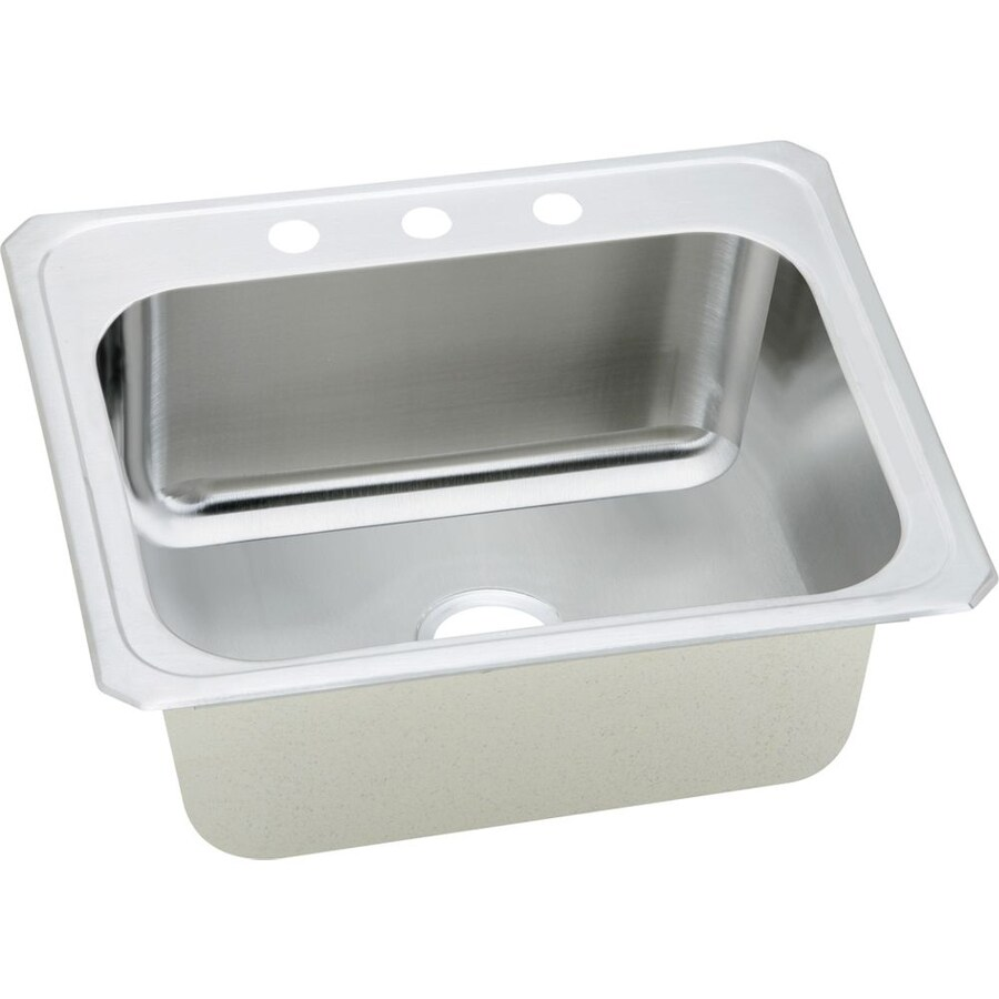 Shop Elkay Gourmet 22 In X 25 In Brushed Satin Single Basin Stainless Steel Drop In 3 Hole