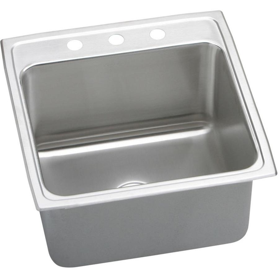 Elkay Gourmet 22-in x 22-in Lustertone Single-Basin Stainless Steel Drop-In 3-Hole Residential Kitchen Sink