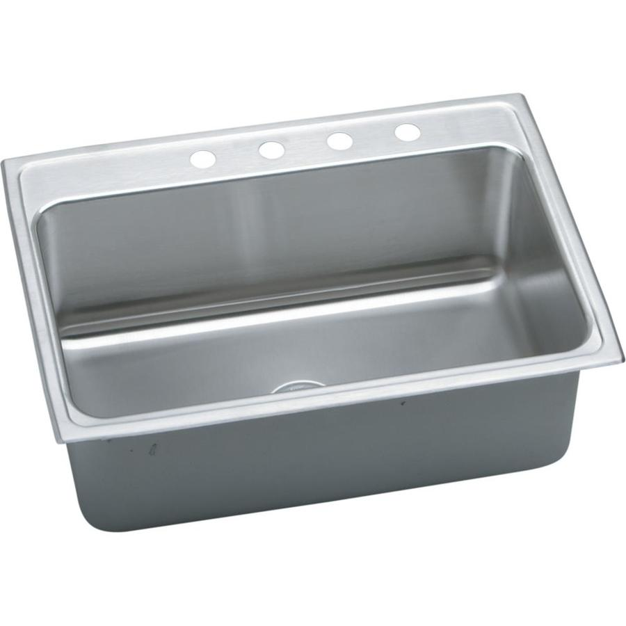 Elkay Gourmet 22-in x 31-in Lustrous Highlighted Satin Single-Basin Stainless Steel Drop-In 4-Hole Residential Kitchen Sink