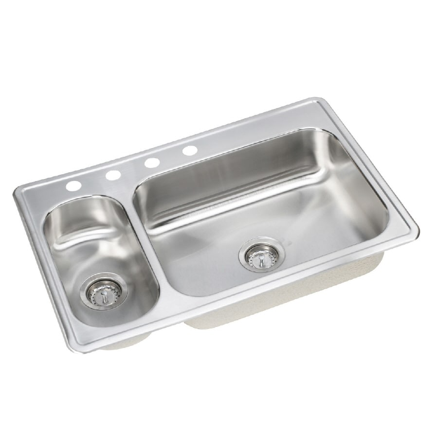 Elkay Dayton 22-in x 33-in Elite Satin Double-Basin Stainless Steel Drop-In 4-Hole Residential Kitchen Sink