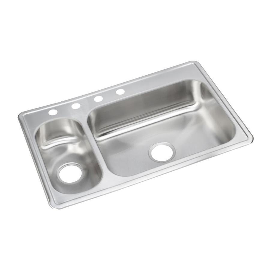 Elkay 22-in x 33-in Stainless Double-Basin Drop-In Kitchen Sink