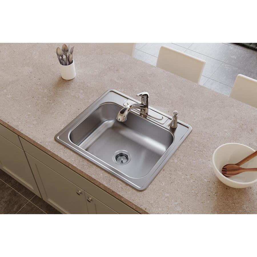 Elkay Dayton 22-in x 25-in Radiant Satin Single-Basin Stainless Steel Drop-In 4-Hole Residential Kitchen Sink