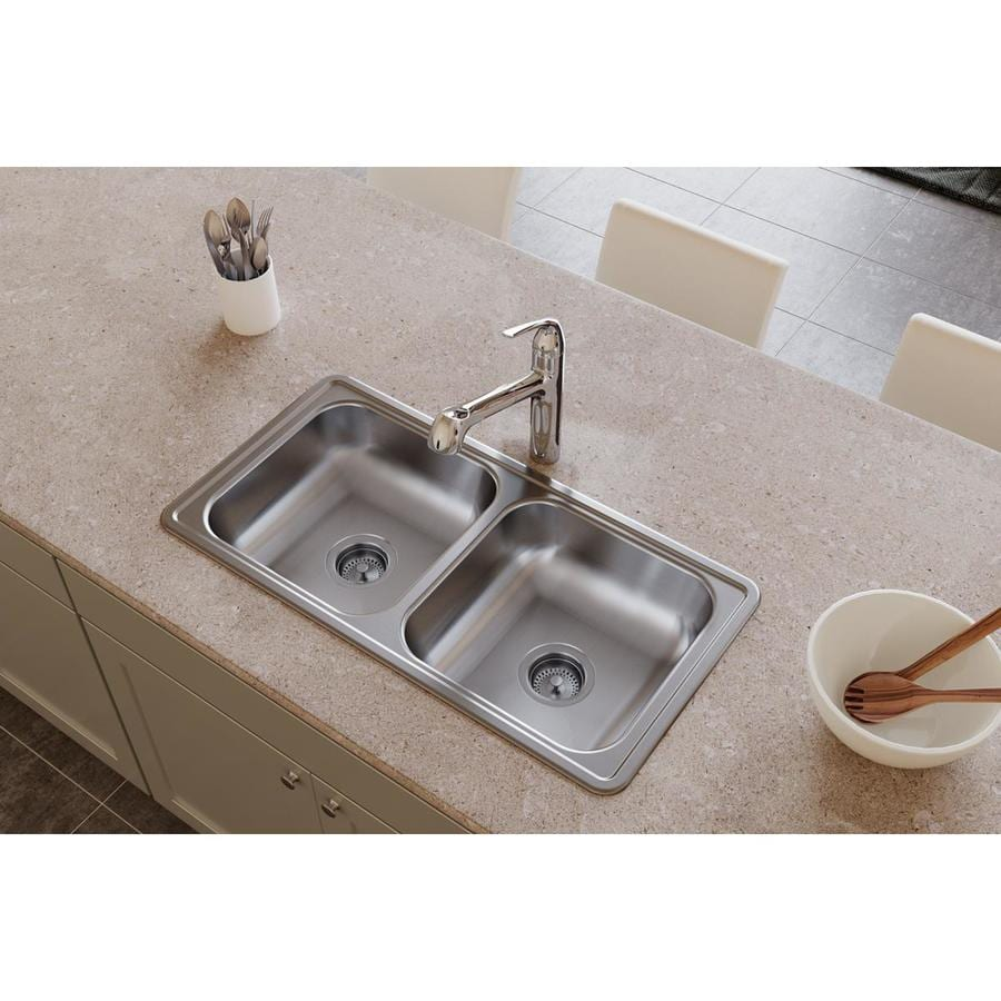 ... in Satin Double-Basin Stainless Steel Drop-In Commercial Kitchen Sink