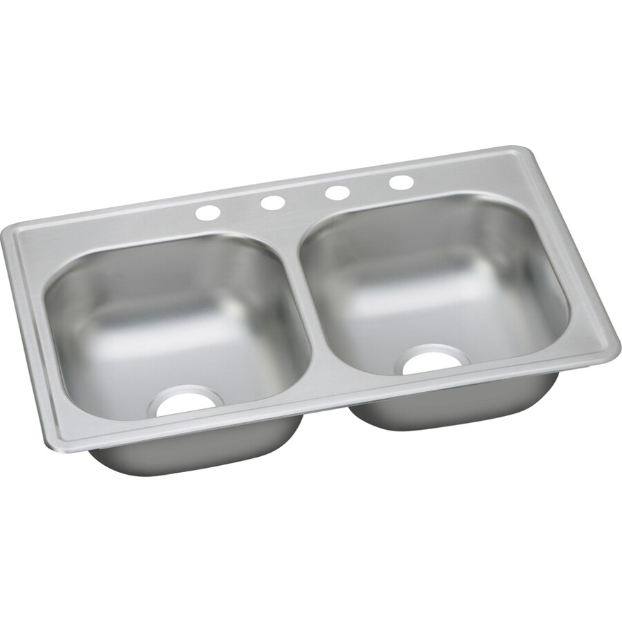 Elkay Dayton 19-in x 33-in Satin Double-Basin Stainless Steel Drop-In 4-Hole Commercial Kitchen Sink