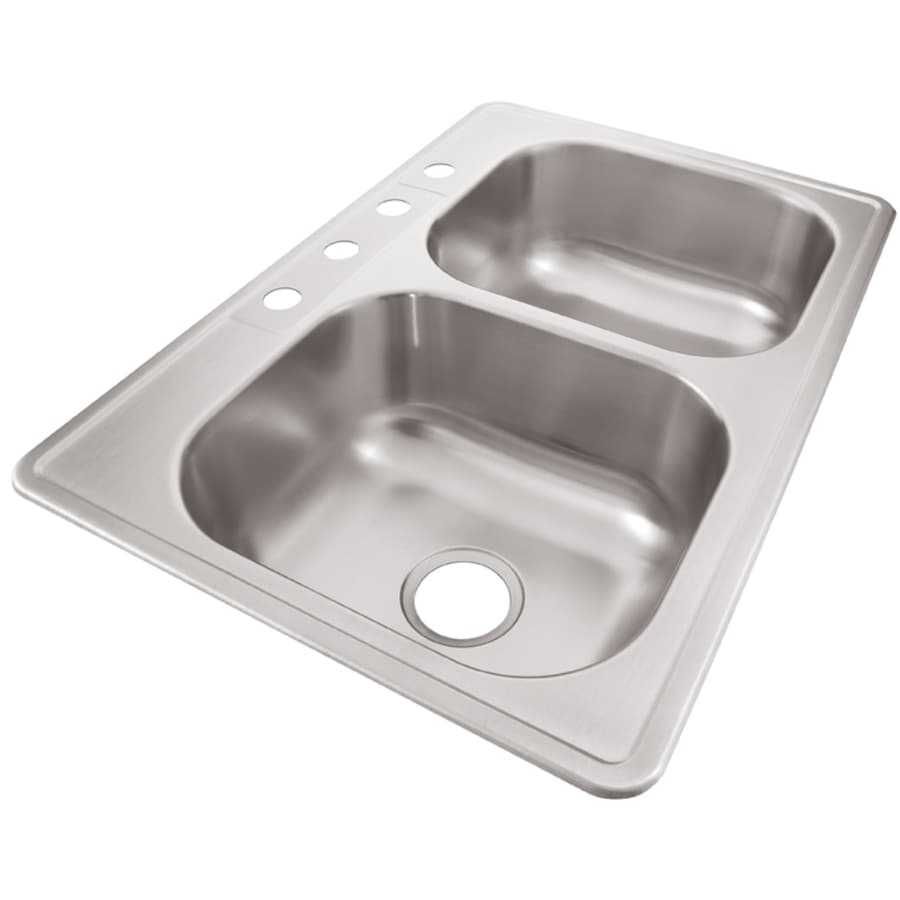 Elkay 33-in x 22-in Radiant Double-Basin Stainless Steel Drop-In Kitchen Sink