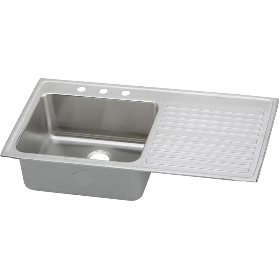 Elkay Gourmet 22-in x 43-in Lustertone Single-Basin Stainless Steel Drop-In 4-Hole Residential Kitchen Sink with Drainboard