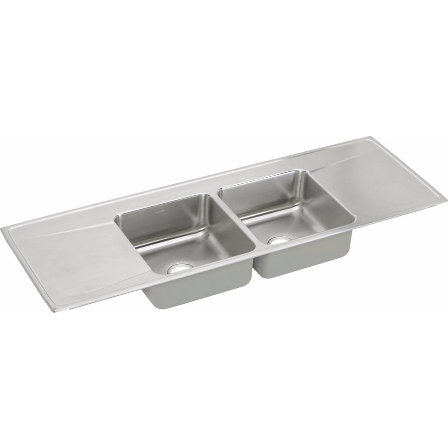 Elkay Gourmet 22-in x 66-in Stainless Steel Double-Basin Drop-In Residential Kitchen Sink with Drainboard