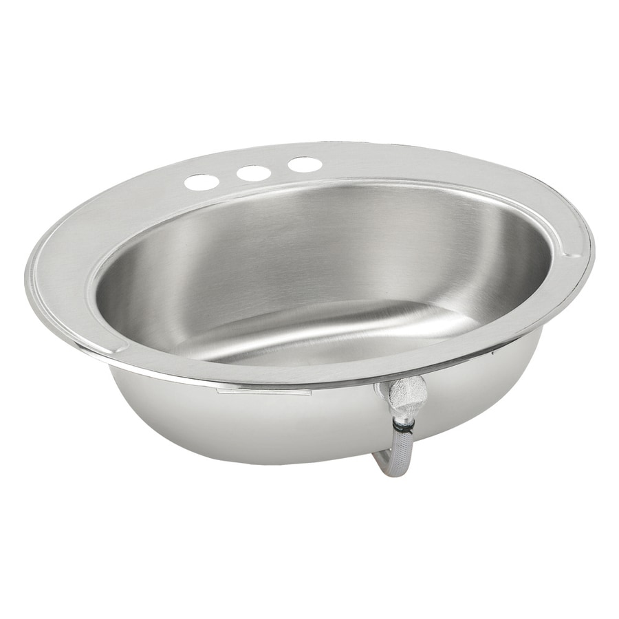 Drop In Stainless Steel Sink : ... Stainless Steel Drop-In Round Bathroom Sink with Overflow at Lowes.com
