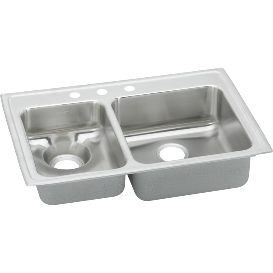 Elkay Gourmet 22-in x 33-in Lustertone Double-Basin Stainless Steel Drop-In 3-Hole Residential Kitchen Sink with Drainboard
