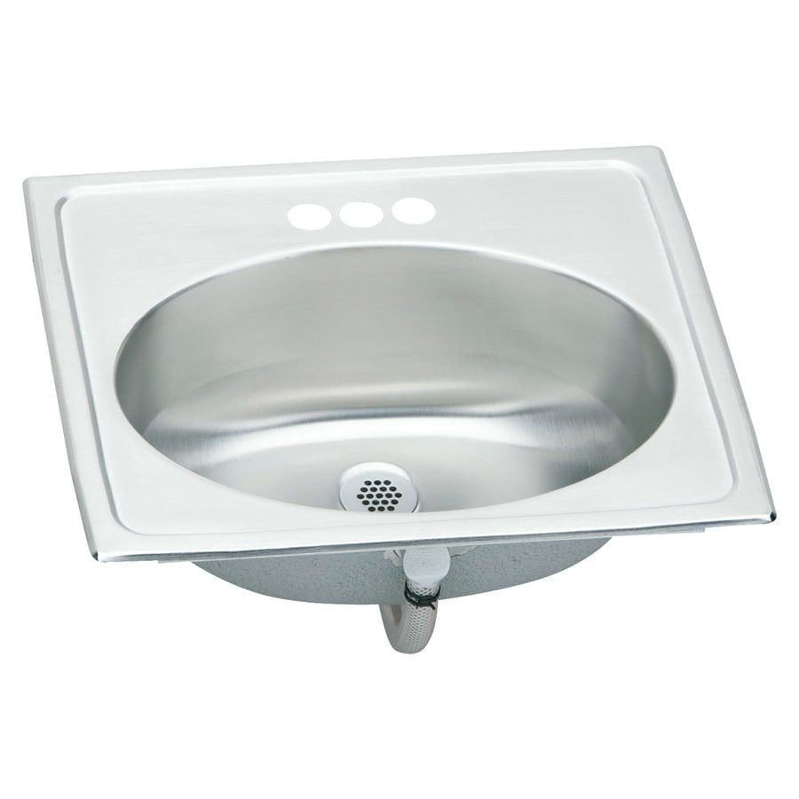 Elkay Asana Brilliant Satin Stainless Steel Drop-In Oval Bathroom Sink with Overflow