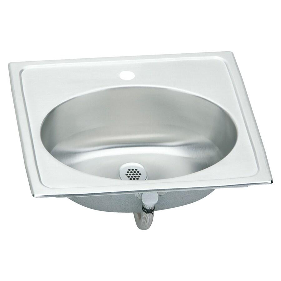 Elkay Asana Brilliant Satin Stainless Steel Drop-In Oval Bathroom Sink with Overflow