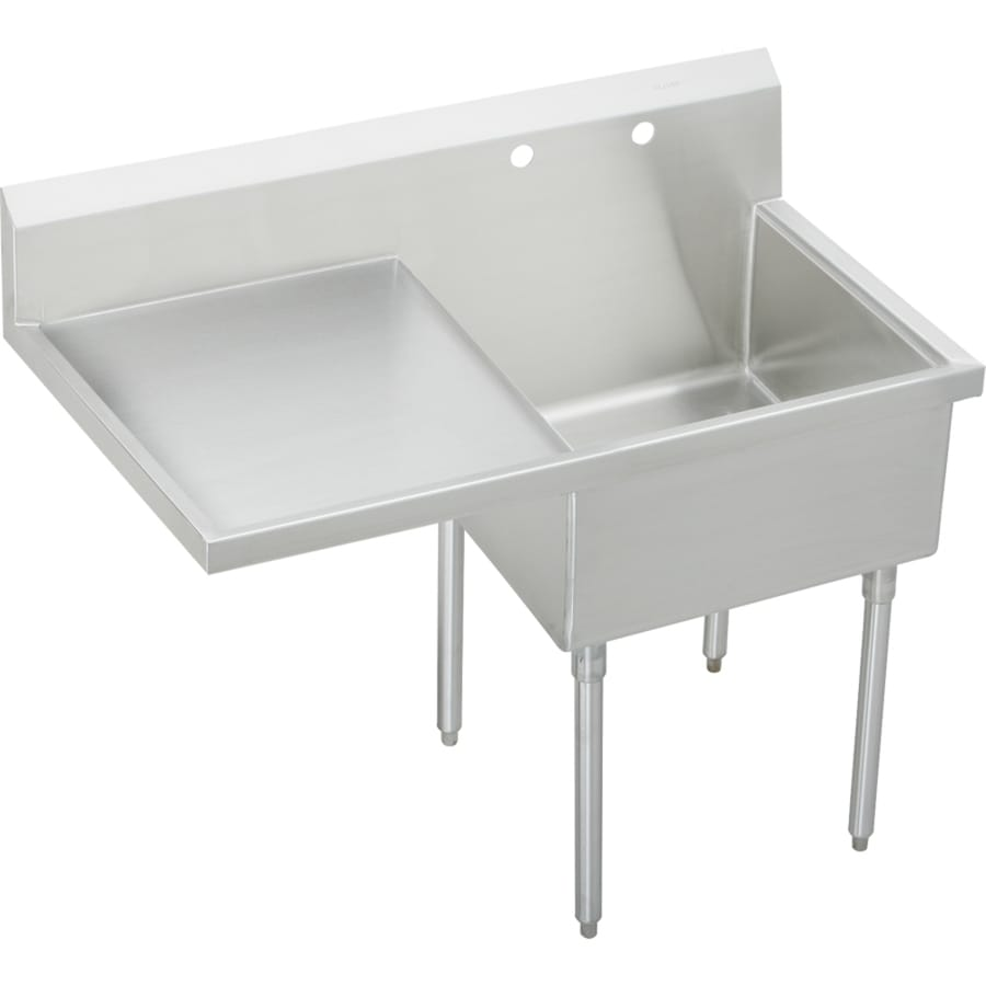 Elkay 27.5-in x 49.5-in Buffed Satin Freestanding Stainless Steel Utility Tub Utility Sink