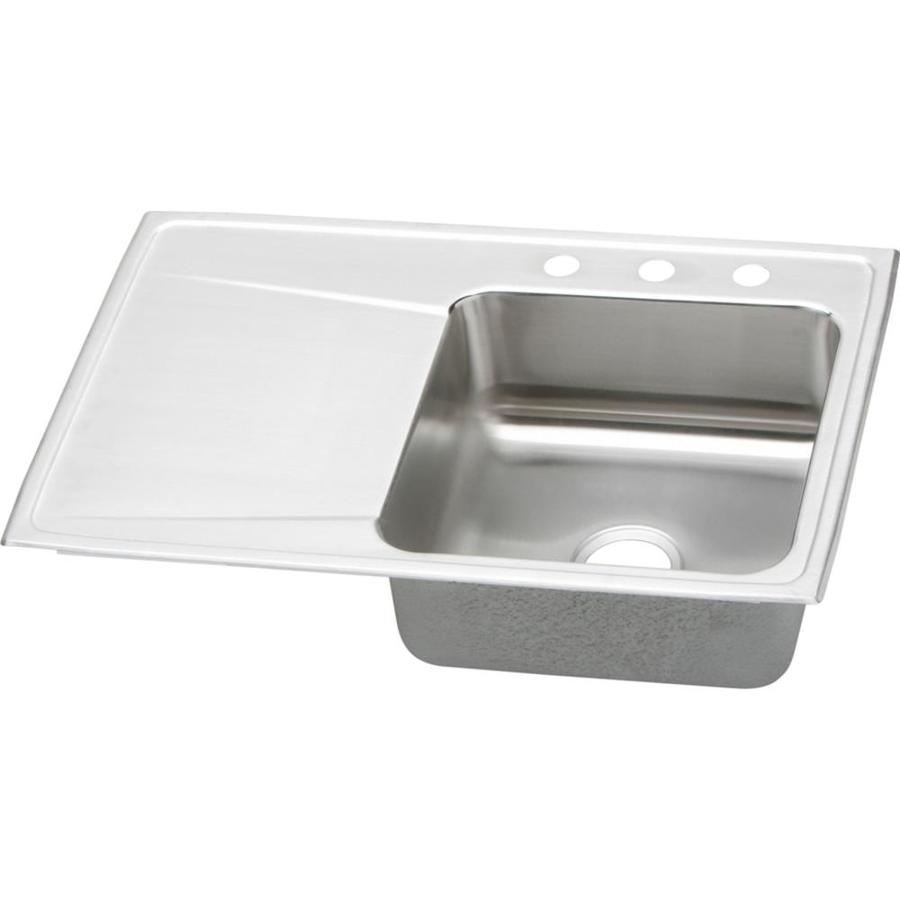 Elkay Gourmet 22-in x 33-in Lustrous Highlighted Satin Single-Basin Stainless Steel Drop-In 4-Hole Residential Kitchen Sink with Drainboard