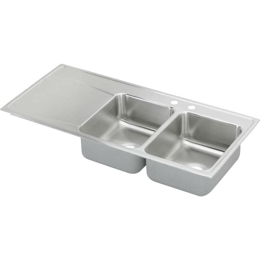 Elkay Gourmet 22-in x 48-in Lustrous Highlighted Satin Double-Basin Stainless Steel Drop-In 2-Hole Residential Kitchen Sink with Drainboard
