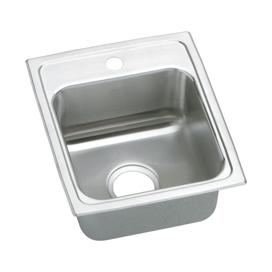Elkay Gourmet 22-in x 15-in Lustrous Highlighted Satin Single-Basin Stainless Steel Drop-In 1-Hole Residential Kitchen Sink