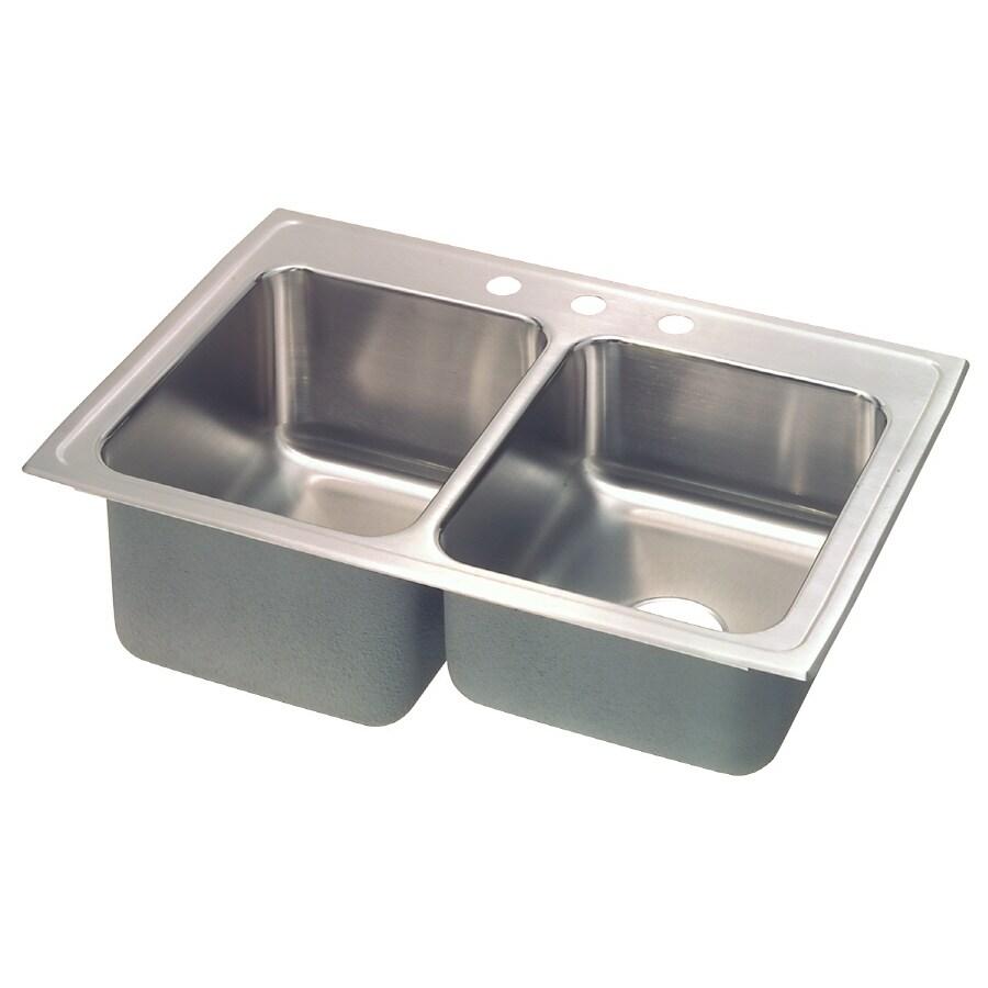 Elkay Gourmet 22-in x 33-in Lustertone Double-Basin Stainless Steel Drop-In 4-Hole Residential Kitchen Sink