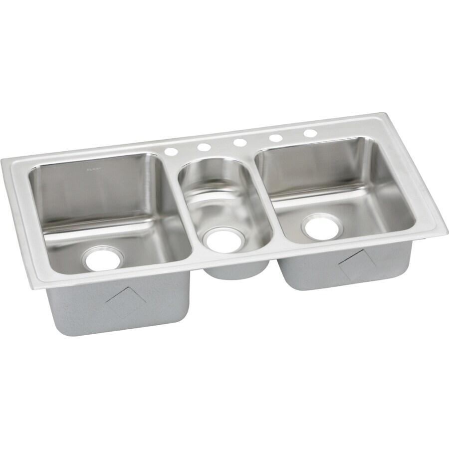 Elkay Harmony 22-in x 43-in Lustertone Triple-Basin Stainless Steel Drop-In 5-Hole Residential Kitchen Sink with Drainboard