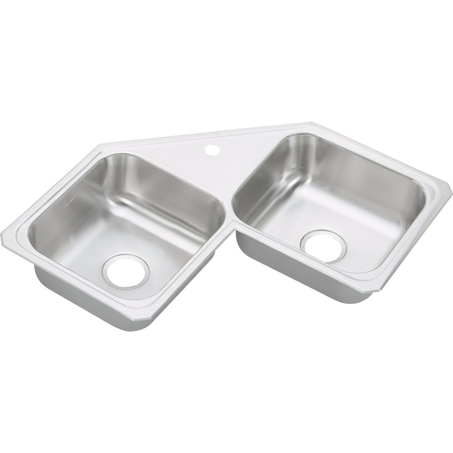 Elkay Gourmet 31.88-in x 31.88-in Bright Satin Double-Basin Stainless Steel Drop-In 1-Hole Corner Installation Residential Kitchen Sink