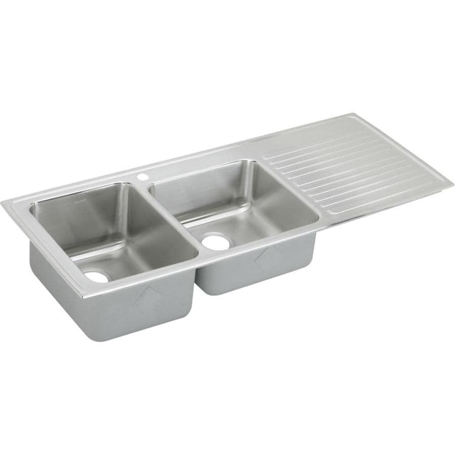 Elkay Gourmet 22-in x 54-in Lustrous Highlighted Satin Double-Basin Stainless Steel Drop-In 1-Hole Residential Kitchen Sink