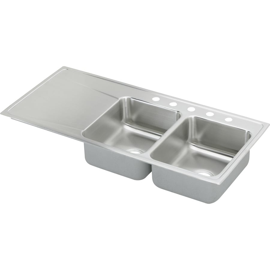 Elkay Gourmet 22-in x 48-in Lustertone Double-Basin Stainless Steel Drop-In 5-Hole Residential Kitchen Sink with Drainboard