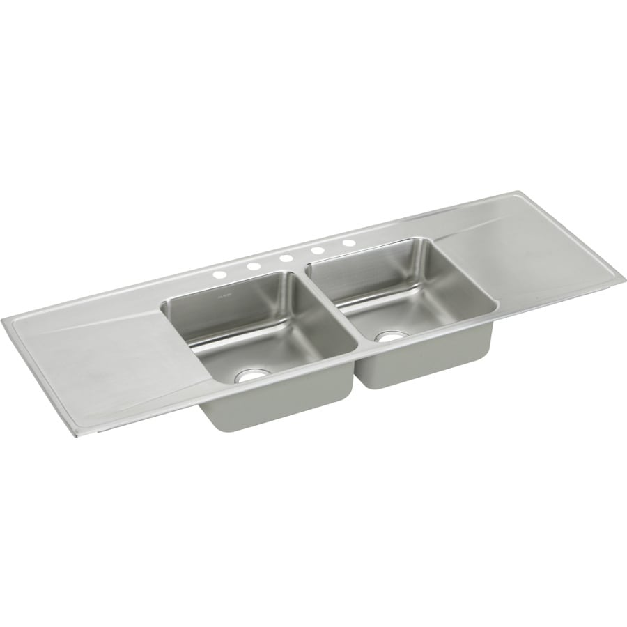 ... Double-Basin Stainless Steel Drop-In 5-Hole Residential Kitchen Sink