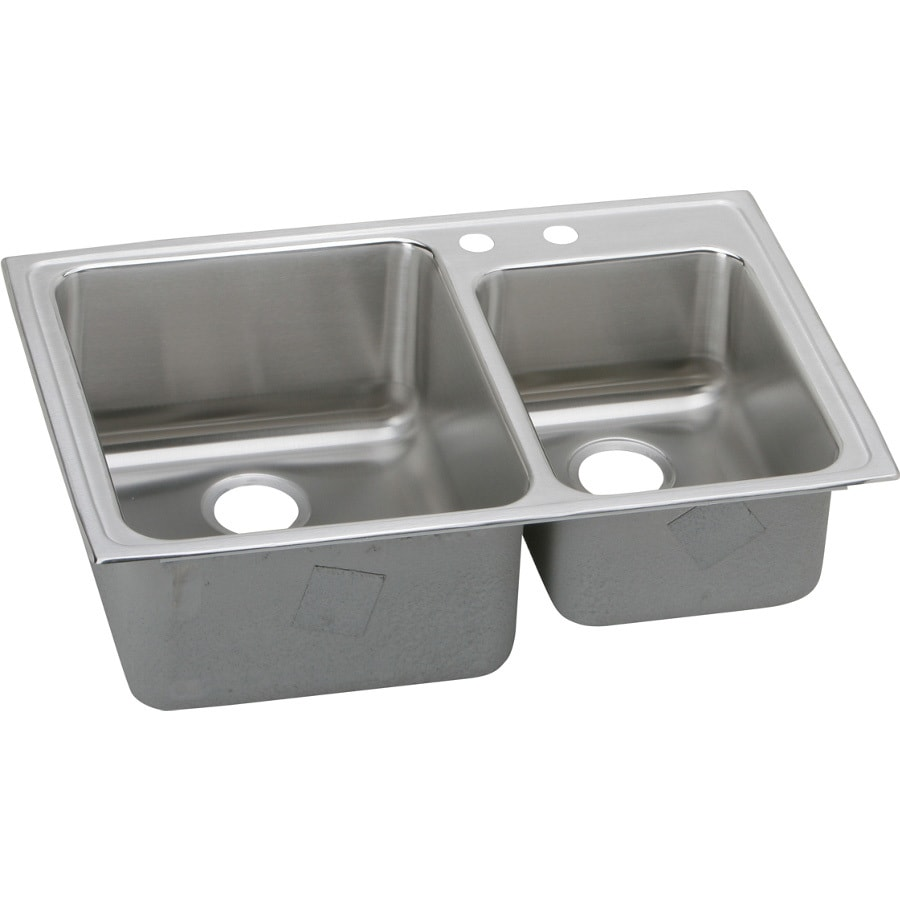 Elkay Gourmet 22-in x 33-in Lustrous Highlighted Satin Double-Basin Stainless Steel Drop-In 2-Hole Residential Kitchen Sink