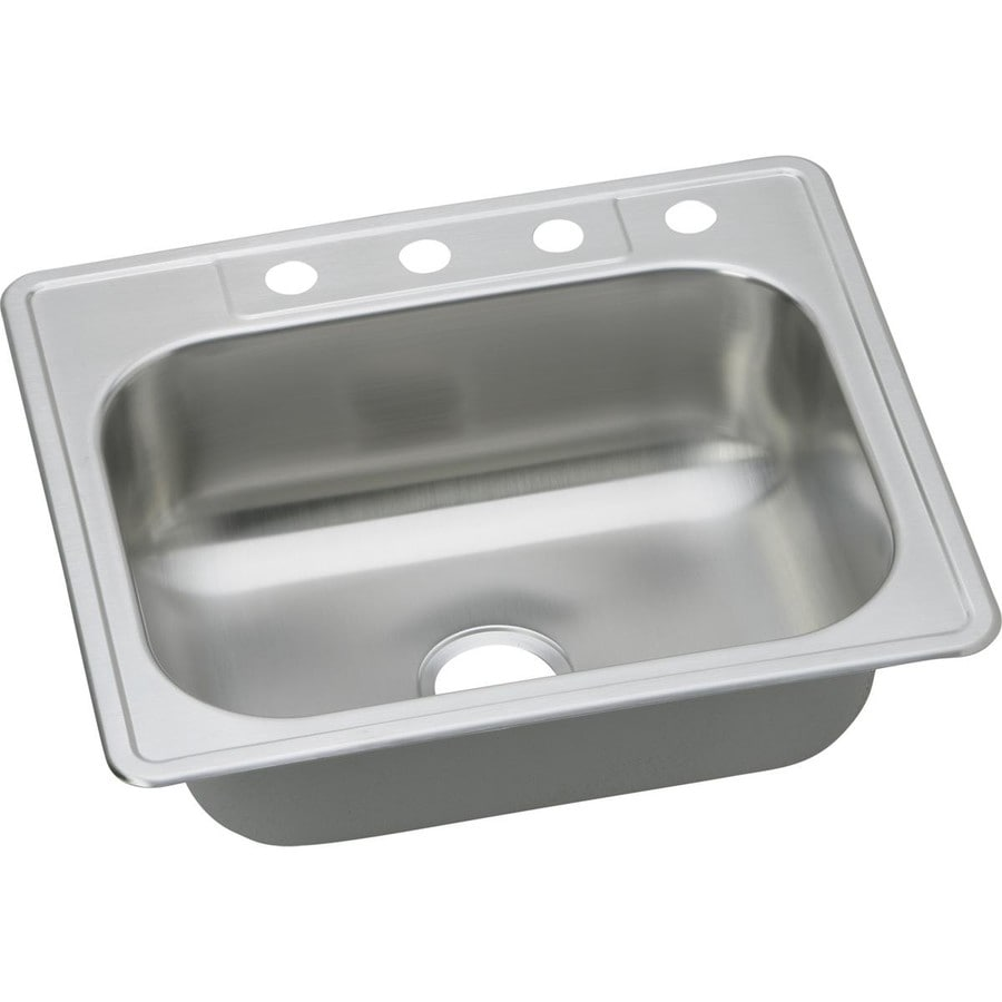 Elkay 22-in x 25-in Stainless Single-Basin Drop-In Kitchen Sink