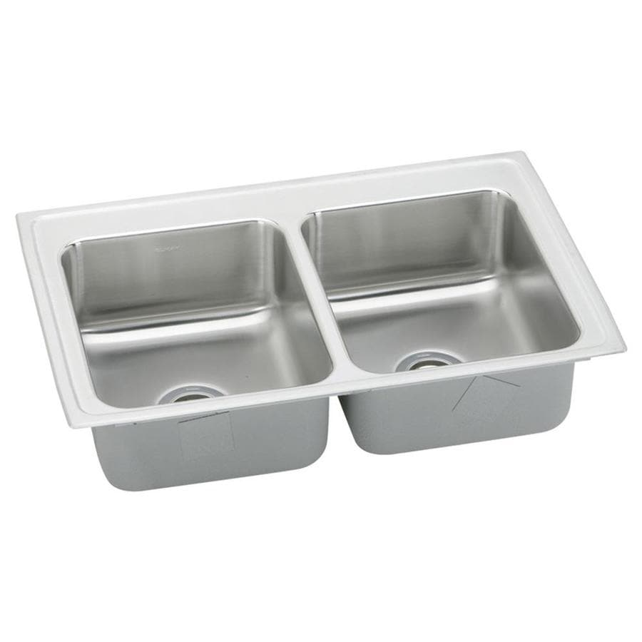 Elkay Gourmet 19.5-in x 33-in Lustrous Highlighted Satin Double-Basin Stainless Steel Drop-In Residential Kitchen Sink