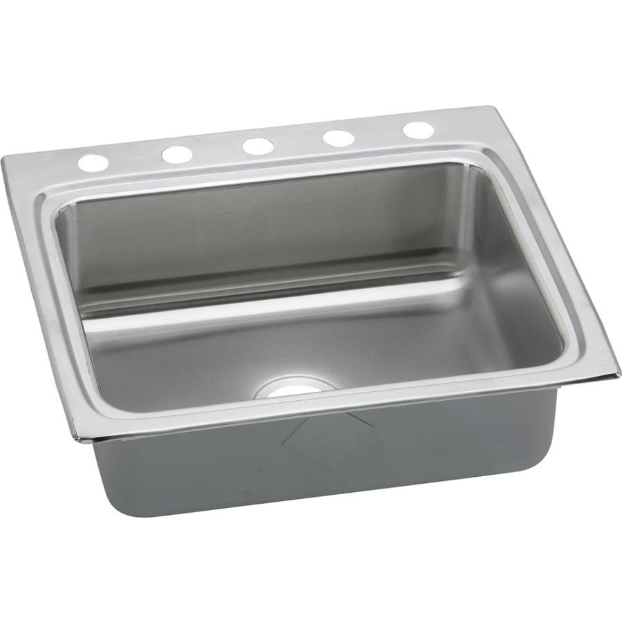 Elkay Gourmet 22-in x 25-in Stainless Steel Single-Basin Drop-In 5-Hole Residential Kitchen Sink