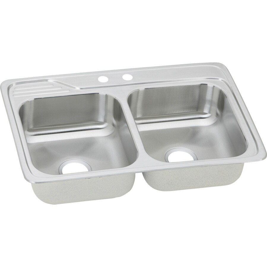 Elkay Gourmet 22-in x 33-in Brushed Satin Double-Basin Stainless Steel Drop-In 2-Hole Residential Kitchen Sink