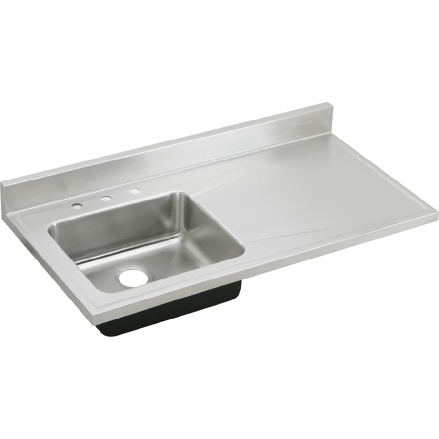 Elkay Gourmet 25-in x 48-in Lustertone Single-Basin Stainless Steel Drop-In 4-Hole Residential Kitchen Sink with Drainboard