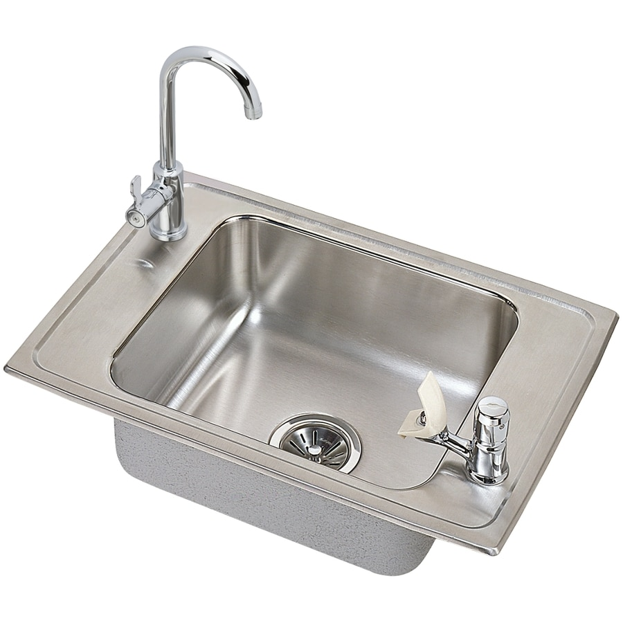 Elkay 17-in x 25-in Brushed Satin Self-Rimming Stainless Steel Utility Tub with Drain and Faucet