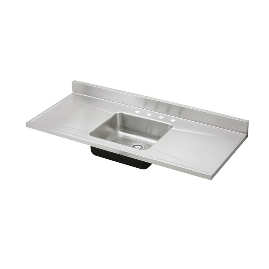 Elkay Gourmet 25-in x 60-in Lustrous Satin Single-Basin Stainless Steel Drop-In 4-Hole Residential Kitchen Sink