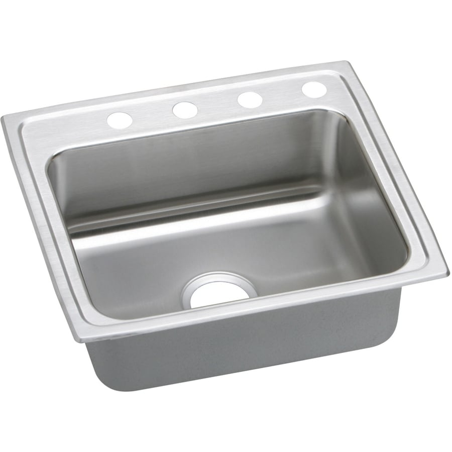 Elkay Gourmet 19.5-in x 22-in Stainless Steel Single-Basin Drop-In 4-Hole Commercial Kitchen Sink with Drainboard