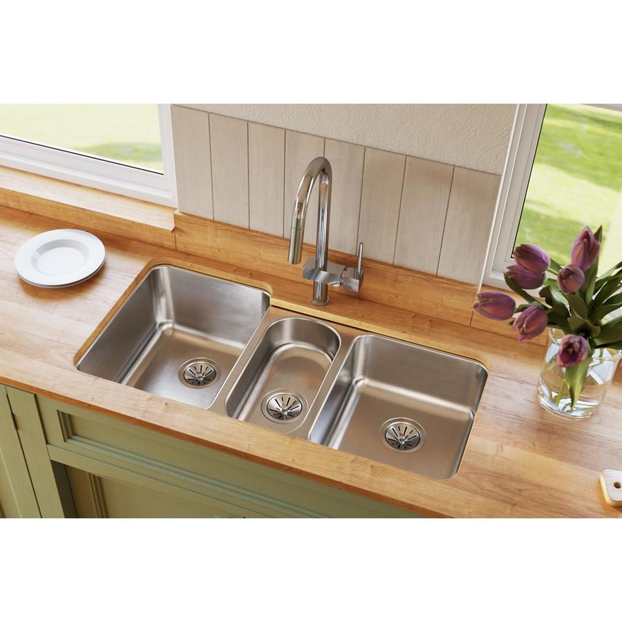 Elkay Harmony 20.5-in x 40-in Lustrous Highlighted Satin Triple-Basin Stainless Steel Undermount Residential Kitchen Sink