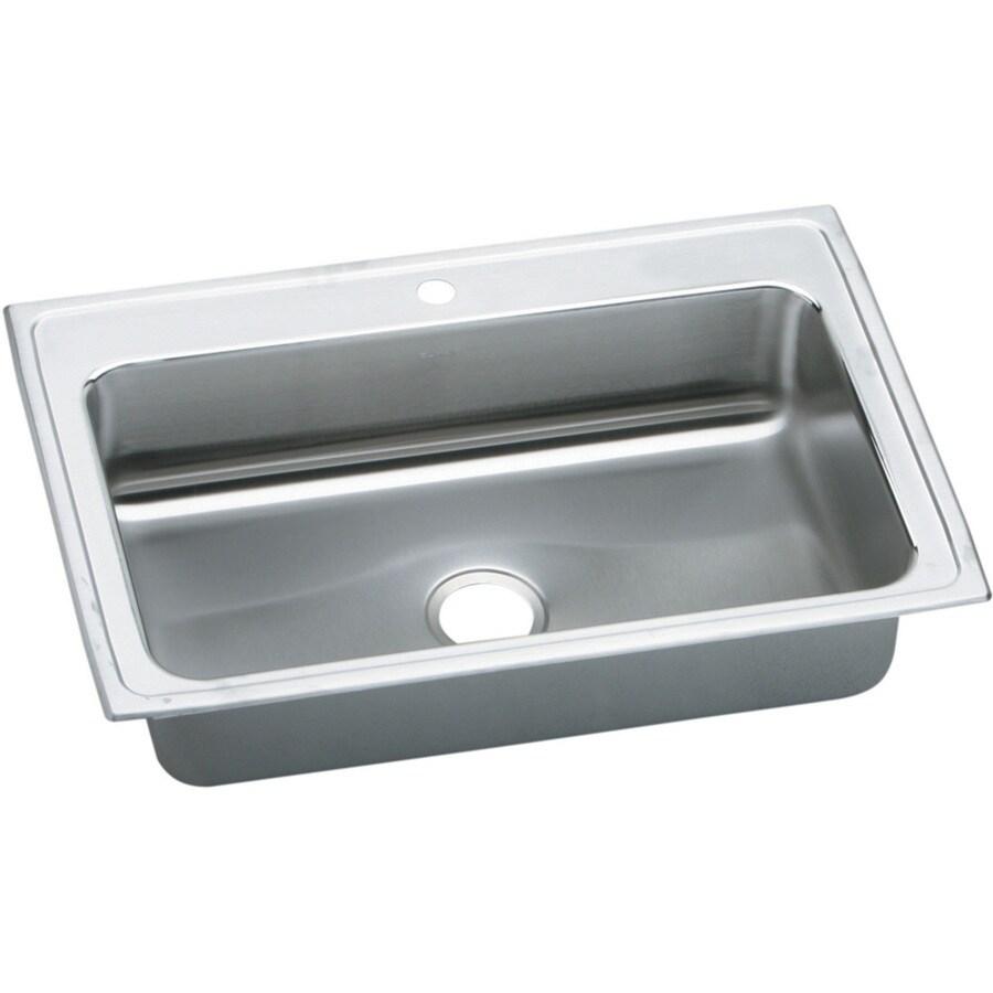 Elkay Gourmet 22-in x 33-in Lustertone Single-Basin Stainless Steel Drop-In 1-Hole Residential Kitchen Sink