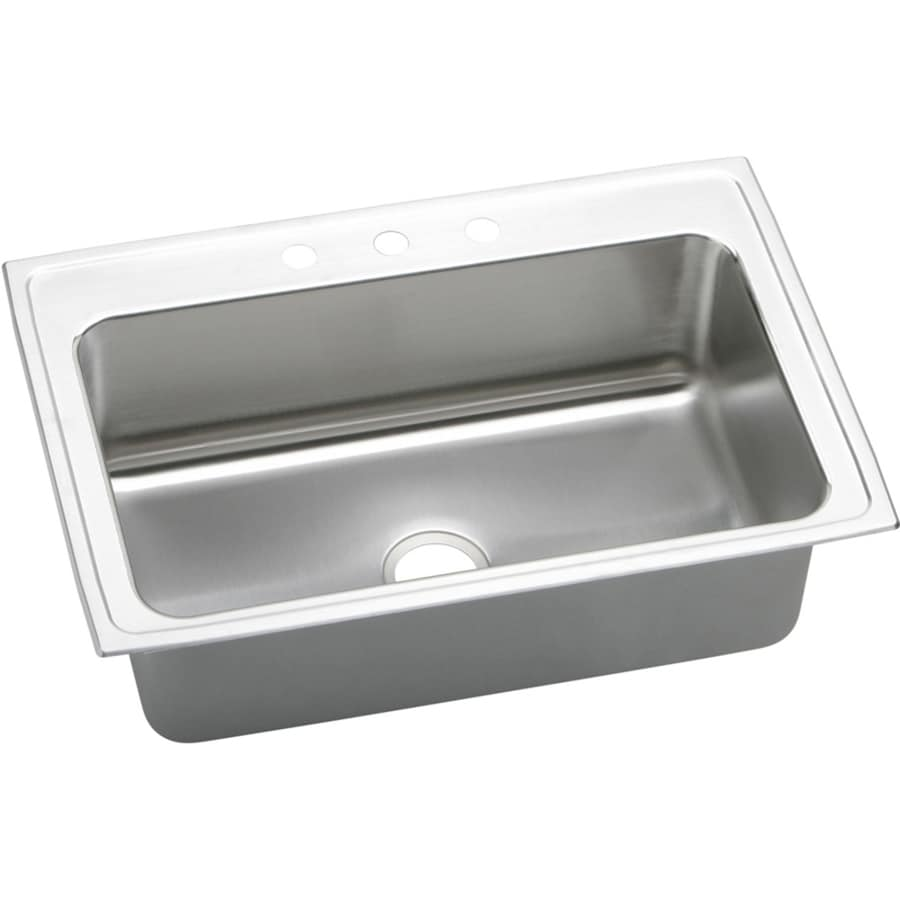 Elkay Gourmet 22-in x 33-in Lustrous Highlighted Satin Single-Basin Stainless Steel Drop-In 3-Hole Residential Kitchen Sink