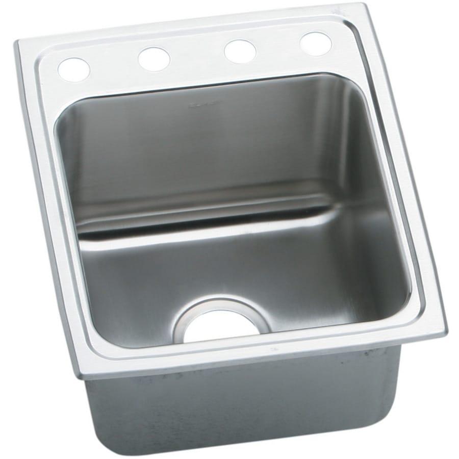 Elkay Gourmet 20-in x 17-in Stainless Steel Single-Basin Drop-In 4-Hole Residential Kitchen Sink