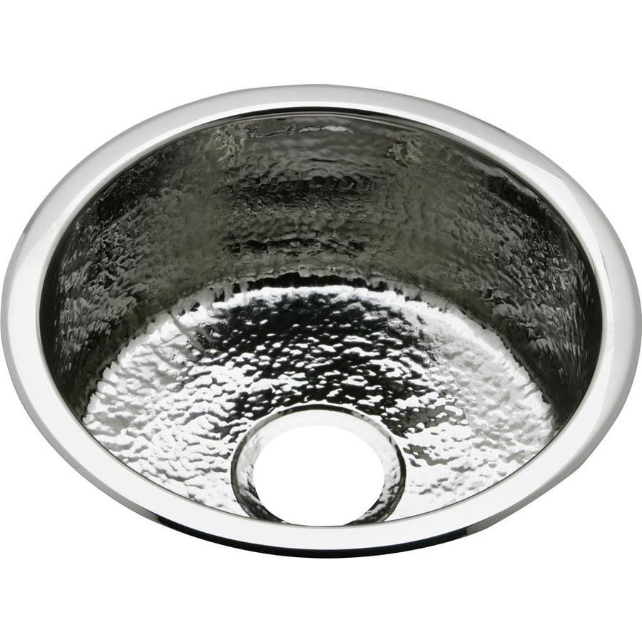 Elkay Mystic Hammered Mirror Single-Basin Stainless Steel Residential Bar Sink