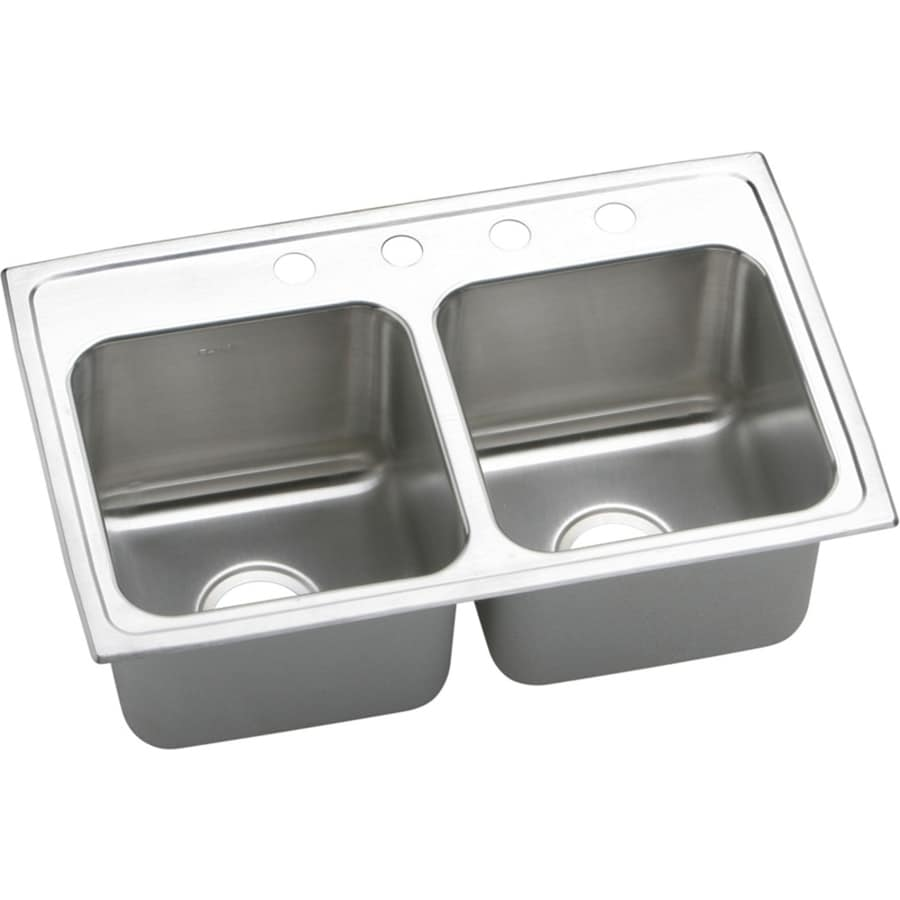 Elkay Gourmet 18-in x 29-in Lustrous Highlighted Satin Double-Basin Stainless Steel Drop-In 4-Hole Residential Kitchen Sink